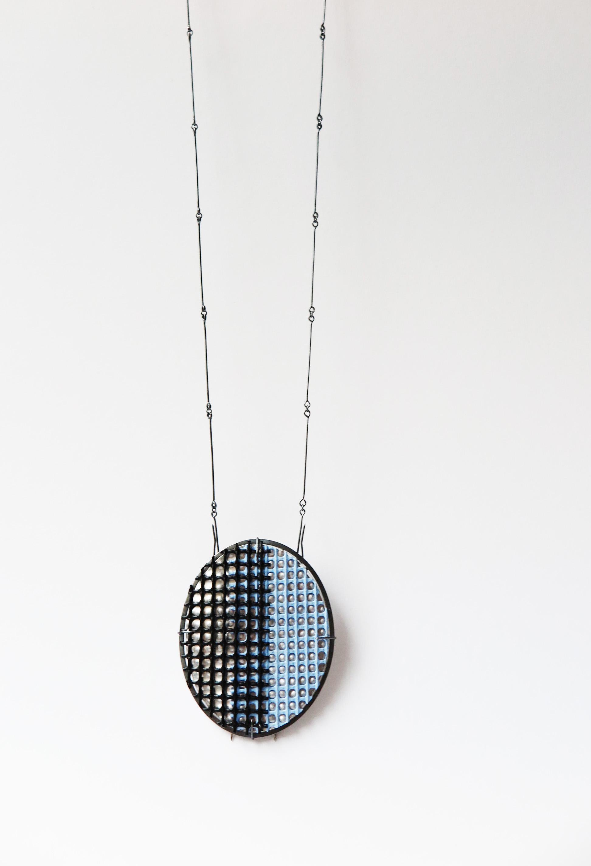 (4-2) layered brooch(pendant)_pale blue_6.5í¬0.7í¬8(H)cm length worn 38cm_sterling silver, aluminum, plastic mesh, acrylic, pigment_2021