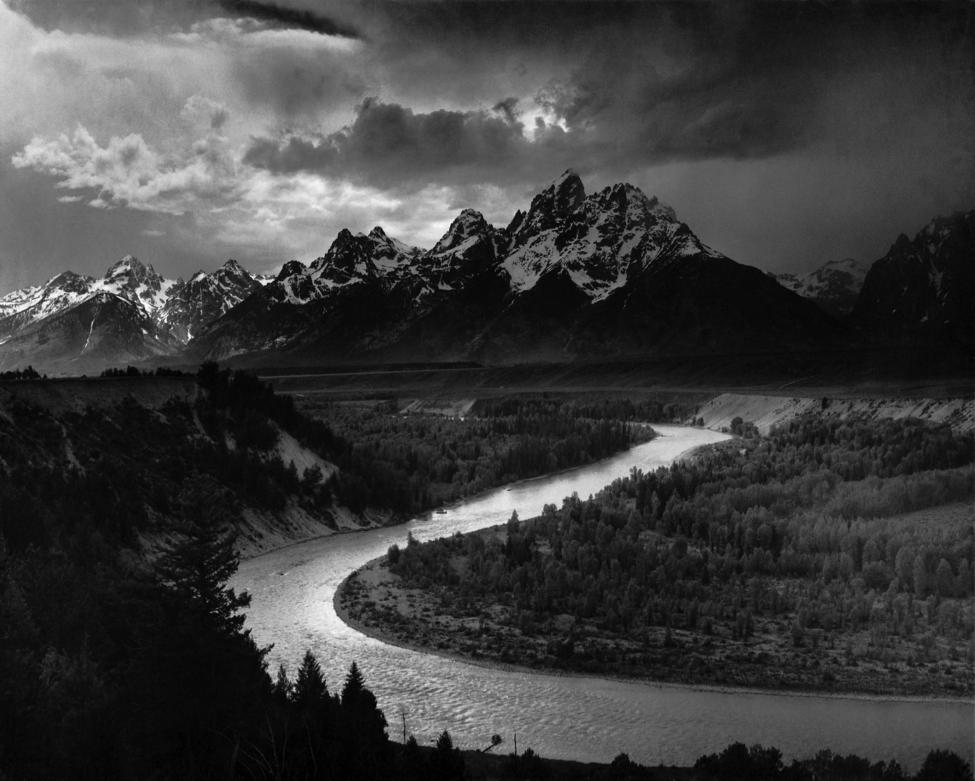 """The Tetons - Snake River"", Ansel Adams, 1942 (sursă www.wikipedia.org)"