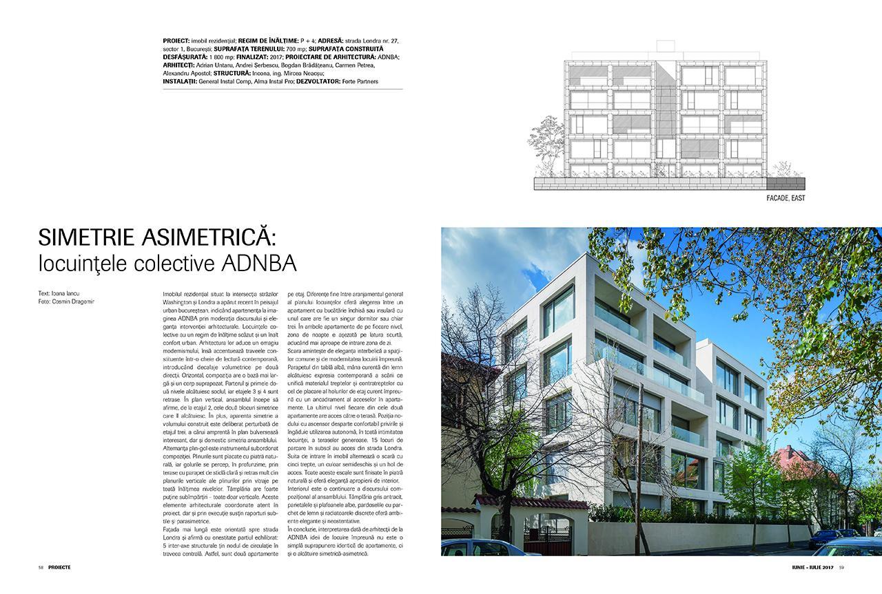 """Locuințe colective, ADNBA - proiect recent desemnat câştigător la secţiunea """"Arhitectură Locuinţei"""" în cadrul Anualei de Arhitectură 2017"""