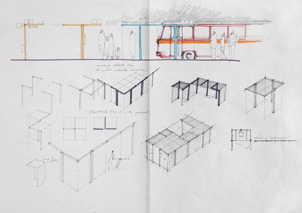 Decebal Scriba, Program de mobilier urban/Proiect de diplomă - Studiu stație de autobuz, 1973 (prima promoție de absolvenți de la secția Forme Industriale IAP București), coord. arh Paul Bortnowski