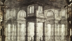 Desen atribuit lui Galli Bibiena, Proiect de scenografie pentru opera 'La Clemenza di Tito', (Opera do Tejo sau Phoenix Opera): imagine perspectivă ilustrând Palatul