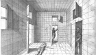 Hans Vredeman de Vriesz, quadratură complexă, construcție perspectivă cu trei figuri umane și mutiple puncte de fugă