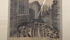 """""""Versiunea I: oraș cu biserică"""" de Erich Kettelhut (1893 – 1979), schiță pentru filmul """"Metropolis""""; © Erich Kettelhut; Deutsche Kinemathek Berlin"""