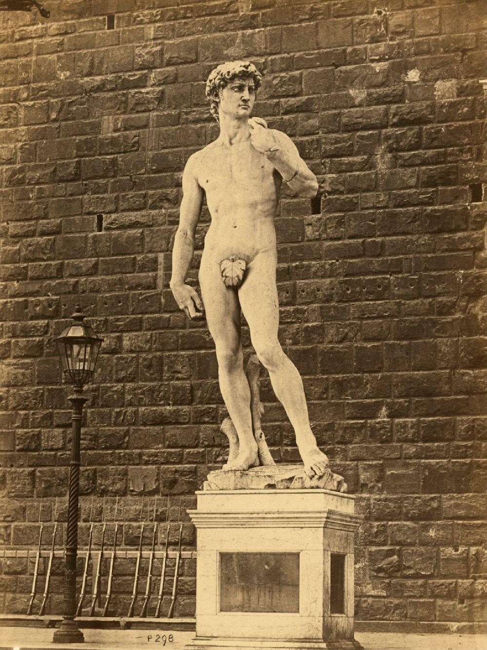 Michelangelo, David (1504). Fotografie J. B. Philpot, cca. 1865–1873