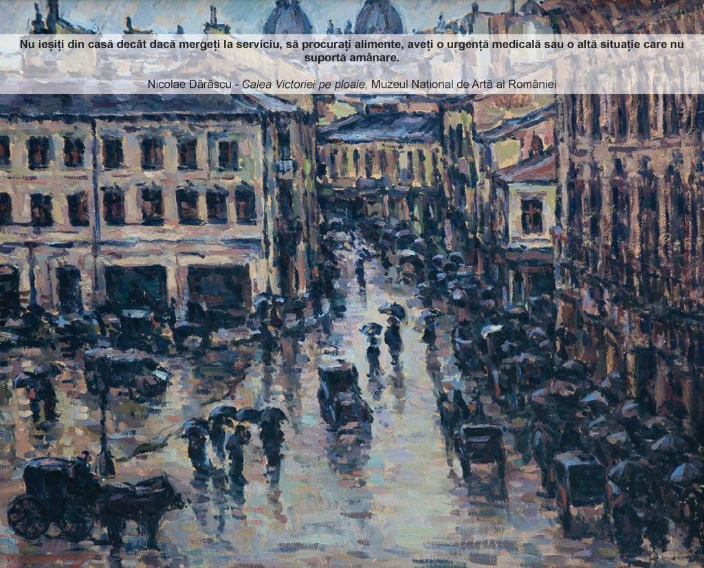 """Nicolae Dărăscu, """"Calea Victoriei pe ploaie"""", MNAR"""