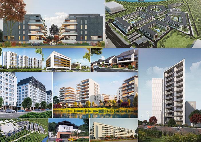 Proiecte (de la stânga la dreapta și de sus în jos): Ansamblul Jandarmeriei, Atria Urban Resort, Tower Residence, Spazio Residence, Millo Village, Ansamblul Lujerului, Palmyra Residence, Eden Lake, Ansamblul Bragadiru, Hotel Ștefănești, Atria Urban Resort 2; Echipa: SMAA; Stadiul proiectelor: în desfășurare