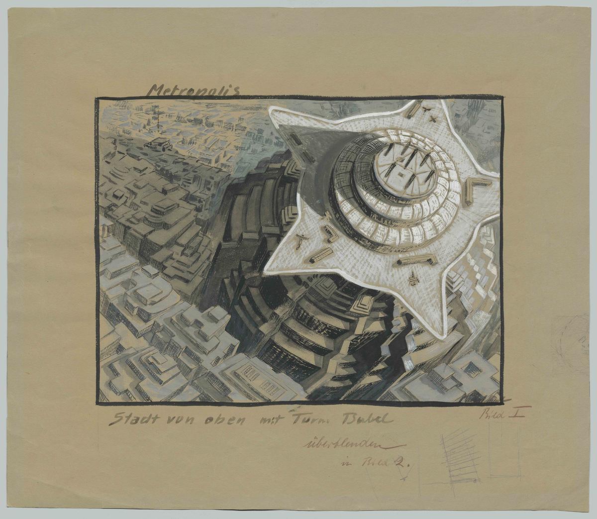 """""""Orașul de sus, cu Turn Babel"""" de Erich Kettelhut (1893 – 1979); schiță pentru filmul """"Metropolis""""; © Erich Kettelhut; Deutsche Kinemathek Berlin"""